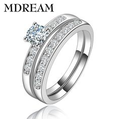 wholesale platinum plated double ring for women on AAA Zircon for party romantic couple Rings jewelry Size 6 7 8 9 LSR124 MDREAM