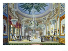 The Banqueting Room at the Royal Pavilion, Brighton, 1826  by John Nash