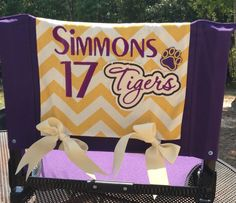 Ready for some football with my new personalized stadium chair cover created by Pamela Riche' of Bossier City, La!  Reversible for multi-kid or multi-team families! Washable too!  @Pam Riche