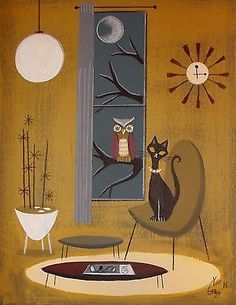 EL GATO GOMEZ PAINTING RETRO MID CENTURY MODERN CAT OWL EAMES KNOLL 1960S CLOCK in Art, Paintings | eBay