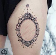 black and grey mirro fine line illustration Hon Tattoo Mini Tattoos, Small Tattoos, Vintage Mirror Tattoo, Tattoo Shops Toronto, Mirror Tattoos, Single Needle Tattoo, Tattoo Flash Art, Fine Line Tattoos, Tattoo Stencils