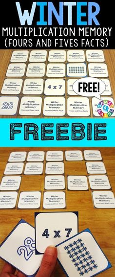 FREE Winter Multiplication Memory Game makes practicing fours and fives… Math Stations, Math Centers, Math Resources, Math Activities, Array Multiplication, Math Groups, Fourth Grade Math, Homeschool Math, Homeschooling