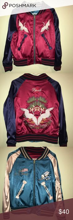 Reversible satin bomber jacket Maroon/navy teal/cream reversible bomber. Super cute only worn a few times and just dry cleaned! So comfortable! Xs/s not UO Urban Outfitters Jackets & Coats