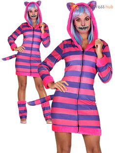Ladies-Cheshire-Cat-Costume-Adult-Neon-Animal-Alice- 5a6e8f6df