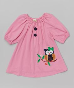 Loving this Pink Owl Appliqué Puff-Sleeve Dress - Kids on #zulily! #zulilyfinds
