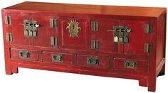 BF-20276 Гуйчу - шкаф-комод. С дверцами с квадратными запорами. Традиционного красного цвета. Династия Мин