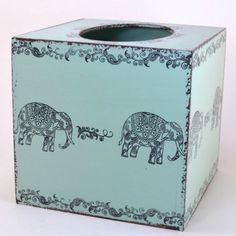 Elephants Tissue Box Cover   Wooden tissue box cover, elephant print, from South Africa – Dogwood Box