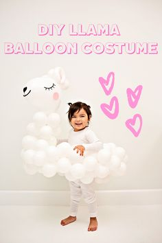 DIY Llama Balloon Costume for Kids. Cute handmade Halloween costume for kids. Balloon photo props or birthday party balloons. Animal Costumes For Kids, Cute Baby Halloween Costumes, Vintage Halloween Photos, Halloween Balloons, Vintage Circus Party, Vintage Carnival, Diy Hot Air Balloons, Scary Clowns, Circus Theme