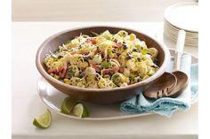 Salade de pâtes à la mexicaine--------------------Cette savoureuse salade débordante de haricots noirs, de maïs et de poivron rouge deviendra assurément une des préférées de la famille.
