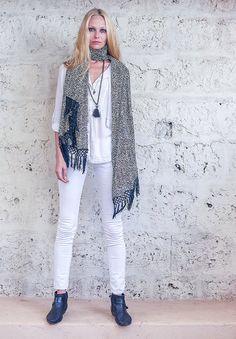 SALE Black and White Chiffon Scarf Fashion Scarf Large by Hanamer