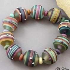 magma beads painted worlds minis handmade lampwork beads