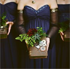 steampunk bridesmaid book bouquet