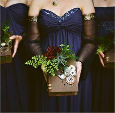steampunk bridesmaid book bouquet
