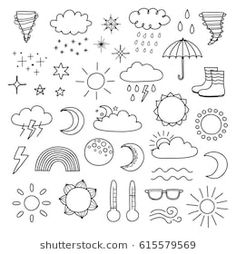collection of doodle outline weather icons including sun clouds rain drops snowflakes stars moon rainbow thunder thermometer isolated on white background. Bullet Journal Ideas Pages, Bullet Journal Inspiration, Book Journal, Bullet Journal Outline, Rain Drop Drawing, Moon Drawing, Sun Doodles, Little Doodles, Doodle Drawings