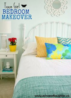 maybe blue marilyn walls? Adorable bedroom makeover by echoesoflaughter.com