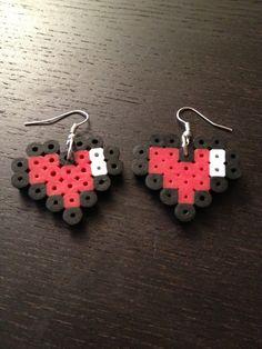 Zelda Heart Meter Earrings Perler Beads video by SongbirdBeauty, $4.00