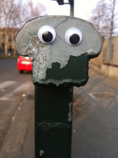 eye bombing... throwing googly eyes on inanimate objects.