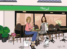 Angeline Melin croque les filles de Passy à la terasse du café Thé Cool