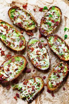 Cheesy Bacon and Kale Potato Skins