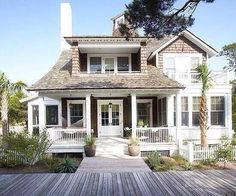 Beach house with shaker shingles