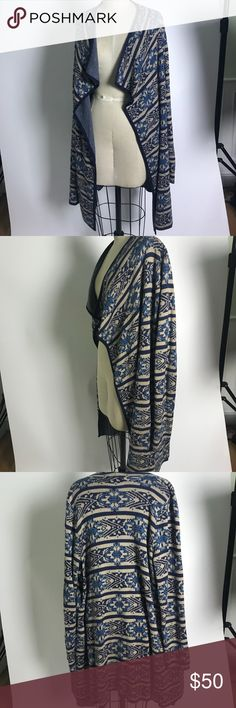 Lucky Brand Soft-Knit Aztec Woven Cardigan Sweater Made for fall, well knit sweater from Lucky Brand. Beautiful colors and Aztec print. Long- cardigan type and can wrap around for a stylish look. Lucky Brand Sweaters Cardigans