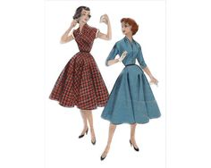 Rare and very pretty - Plunging neckline, slim waist, sweeping skirt - early 1950's Complete Original Butterick pattern #7086