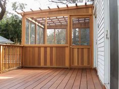 Product & Tools:Fiberglass Roof Panels Wood Deck Design How to Install Fiberglass Roof Panels Screened Porch Designs, Screened In Deck, Deck With Pergola, Pergola Kits, Screened Porches, Pergola Ideas, Fiberglass Roof Panels, Fibreglass Roof, Enclosed Decks