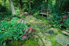 Rustic Twig Bench in a shade garden.