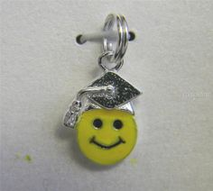 Smiley Face Sterling Silver Charm 925 Yellow Enameled Graduate Keepsake #smileyface #charm #graduate