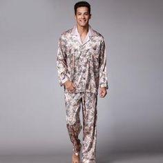 67ca88af54 SSH003 Printed Satin Silk Mens Pajamas High Quality Male Nightgown Sleepwear  Autumn Spring Full Sleeves Pants 2Pieces Pajama Set