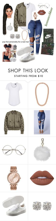 """7AM - Lil Uzi Vert"" by kennanextdoor ❤ liked on Polyvore featuring Topshop, Classique, Michael Kors, Lime Crime and Puma"