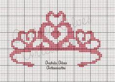 Heart crown x-stitch Coroa rosa Cross Stitch Alphabet, Cross Stitch Baby, Cross Stitch Charts, Cross Stitch Designs, Cross Stitch Patterns, Canvas Template, Cross Stitching, Cross Stitch Embroidery, Knitting Charts