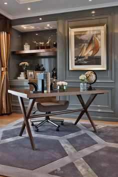 Masculine Office Decor Inspiration - When you choose to design this kind of . design home men decorating ideas Office Interior Design, Office Interiors, Home Interior, Office Designs, Luxury Interior, Interior Ideas, Modern Interior, Art Interiors, Home Office Space