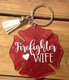 Excited to share the latest addition to my shop: Firefighter Wife Keychain Keychain Design, Diy Keychain, Keychain Ideas, Diy Resin Crafts, Crafts To Sell, Acrylic Keychains, Firefighter Gifts, Cricut Craft Room, Christmas Gifts For Friends