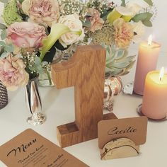 Our table decorations for the wedding. Rustic vintage. Table numbers made by my brother. AllWood. NordicPark. Borddekorationer. Bryllup. Menu. DIY. Bordkort. Birk.