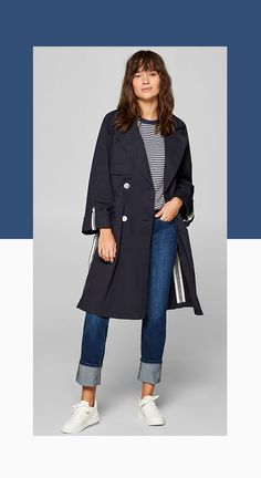 ESPRIT blue trench coat with woven tape details. Spring is on its way: This lightweight double-breasted trench coat made of blended cotton features great trend details! Trench Coat Outfit, Blue Trench Coat, Double Breasted Trench Coat, Trent Coat, Athleisure, Parka, Tape, Cardigans, Fashion Accessories