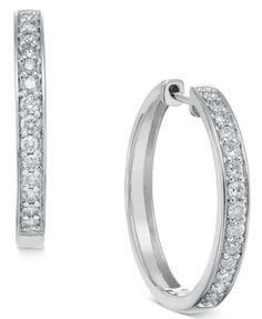 Diamond Hoop Earrings (1/2 ct. t.w.) in 14k White or Yellow Gold | macys.com