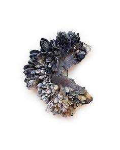 Ceramic Embossed Silver Metallic Heart Brooch Pin Handmade by Sharon Bloom Designs
