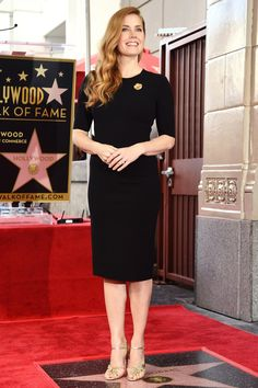 Amy Adams wore a black Armani length sleeve LBD with gold ankle strap sandals. Congratulations on receiving a star on the Hollywood Walk of Fame, Amy! Classy, stylish, and elegant! Drop Dead Gorgeous, Hollywood Walk Of Fame, Anastasia, Actress Amy Adams, Lbd, British Academy Film Awards, Gorgeous Redhead, Beauty Women, Celebrity Style