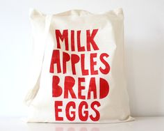 HandPrinted Cotton Fabric Tote Bag Grocery by TheFoxintheAttic
