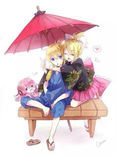Anime couple. Kagamine twins