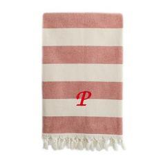 Linum Home Textiles Patara Pestemal Beach Towel Letter: P, Color: Red