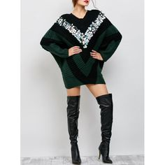 Sequins Oversized Batwing Poncho Sweater - BLACKISH GREEN ONE SIZE