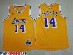 Men's Los Angeles Lakers #14 Brandon Ingram Yellow Retro Stitched NBA 2016 adidas Revolution 30 Swingman Jersey