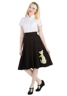 Chic Companion Skirt in Chat. Let this ModCloth-exclusive black skirt by Bea  Dot accompany you on your riverside promenade, and your every step will be worthy of a sophisticated round of a-paws! #black #modcloth