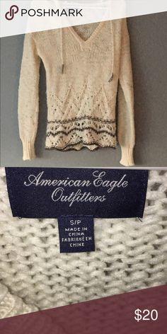 American eagle knit sweater cozy American eagle hooded sweater, worn once. American Eagle Outfitters Sweaters V-Necks