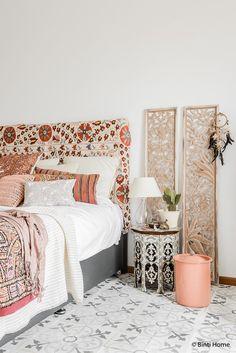 Bohemian slaapkamer roze interieurtrend ©BintiHome