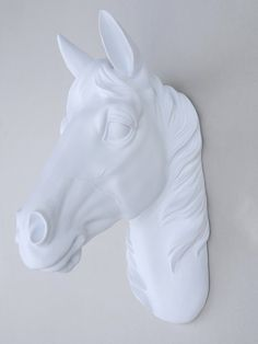 Tête de cheval Faux blanc Mount tête de cheval par NearAndDeer