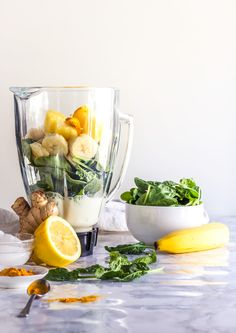 Jun 2018 - This detox green smoothie recipe is made with simple ingredients, you only need 2 minutes to make it, and it tastes delicious. Best way to start the day! Easy Green Smoothie Recipes, Green Smoothie Cleanse, Green Detox Smoothie, Healthy Green Smoothies, Fruit Smoothies, Healthy Recipes, Cleanse Detox, Juice Recipes, Juice Cleanse