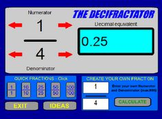 This site is simple. You can create any fraction you want, and it will convert the fraction into a decimal. You can use this site to find equivalent fractions or determine patterns when changing values.